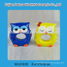 Lovely owl shaped ceramic napkin ring in bright color