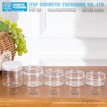 TJ-AE Serie 100g 120g 150g 200g 250g Zylinder runden kostengünstige Factory Outlets klassische und modische Haustier Kunststoff-Gläser