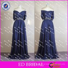 ED Bridal Sexy Off Shoulder Meia manga Long Royal Blue Tulle Long Evening Dress 2017