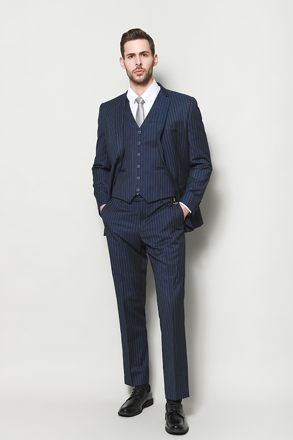 MEN'S NAVY STRIPE SLIM FIT JACKET