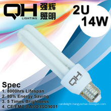 2U 14W Energy Saving Light/CFL Light/Saving Light/Save Energy Light E27 6500K