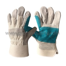 Rubberized Cuff Reinforced Palm Cow Split Work Glove Ce Approved