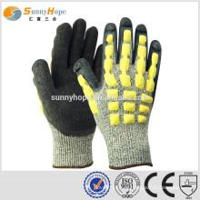 Sunnyhope 13gauge HPPE latex crinkle TPR impacto luvas, luvas de trabalho