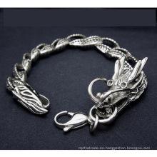 Hombres de acero inoxidable Dragon Curb Chain Bracelets Joyería del cuerpo