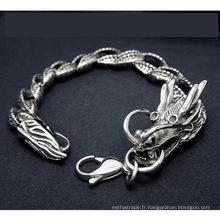 Acier Inoxydable Hommes Dragon Curb Chain Bracelets Bijoux de Corps