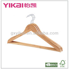Conjunto de cabide de camisa de bambu plana 3pcs com barra redonda