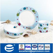 manufacturer 3pcs porcelain breakfast set for kids royal tableware's factory in China