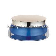Frasco de cosméticos de acrílico azul de vieira para crema