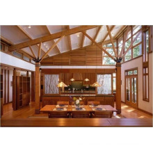 The While Wooden House with Red Cedar Wood Material