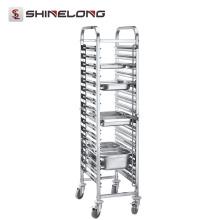 S076 Montagem de trolley de panela GN de aço inoxidável de um lado mais alto