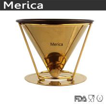 De acero inoxidable oro sin papel verter sobre el goteador de café