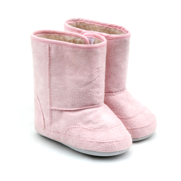 Wholesales Cute Pink Leather Baby Girls Boots