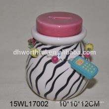 Newest design ceramic piggy bank with zebra-stripe
