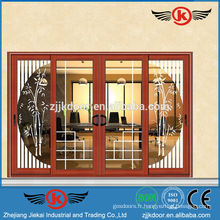 JK-AW9111 design moderne porte coulissante en verre porte porte de sécurité
