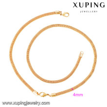 63919 Xuping new design gold plated bracelet and necklace sets