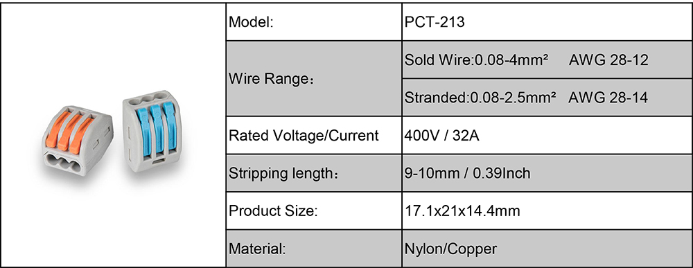 PCT-213 Data of Electrical Wiring Connectors