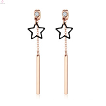 Creative Bar Custom Crystal Gold Plating Tassel Stainless Steel Pendant Star Earrings