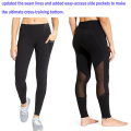 Yoga Pants with Black See Through Mesh and Side Pockets
