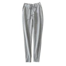 Leggings femmes doux / chaud 100% cachemire tricotant des pantalons épais avec ceinture double poches