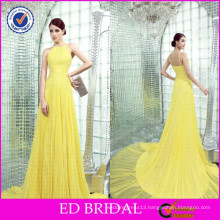 ED Bridal Spaghetti Straps Pleated Sweep Train Chiffon Yellow Night Evening Gowns in India