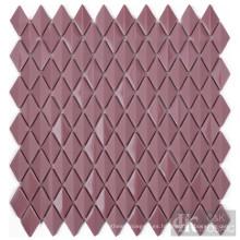 Hoja de azulejo de mosaico de vidrio de diamante de baño rojo violáceo