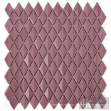 Purplish Red Bathroom Diamond Glass Mosaic Tile Sheet
