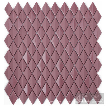 Purplish Red Bathroom Diamond Glass Mosaic Tile Sheet