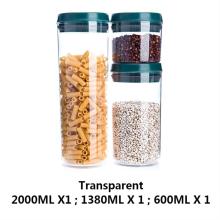 Frasco de plástico transparente para armazenamento doméstico de alimentos