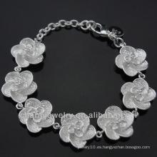Venta al por mayor 925 pulseras lindas de plata de la flor para las muchachas BSS-016