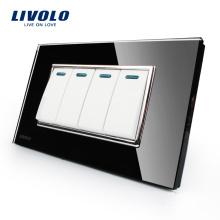 Livolo Fabricant Panneau De Verre En Cristal Noir De Luxe 4 Gangs 2 Voies Commutateur À Bouton Poussoir VL-C3K4S-82