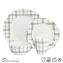 16PCS White Porcelain with Strip Decal Printing Dinner Set