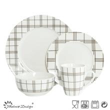 16PCS porcelana blanca con la cena de la impresión de la etiqueta de la tira fijada