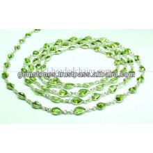 Beautiful Bezel Paridot Beaded Chain, Gemstone Bezel Jewelry Supplier
