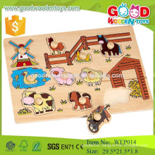 best selling product preschool educational wooden puzzle kids wooden farm animal toys