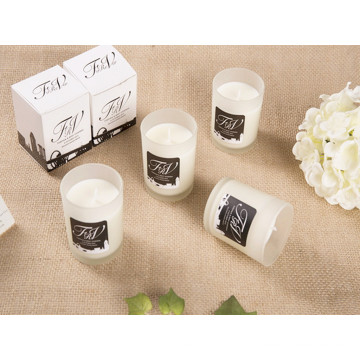 Scented Soy Candle in Frosted Glass Jar for Christmas