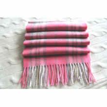 Bufanda unisex 100% de lana de cachemira a cuadros