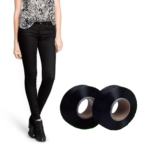 Black spandex knitted denim fabric