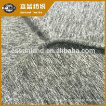 87% poliéster 13% Spandex melange tejido de lana cepillada de un solo punto