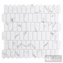 Placa para salpicaduras de azulejos de mosaico de vidrio blanco Mini Picket