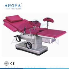 Mesa de operaciones de cirugía ginecológica con marco de acero inoxidable AG-C102C con cuatro ruedas silenciosas