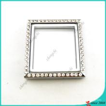 Medalhão quadrado de prata sem jóias de loop (FL16041944)