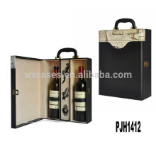 New arrival leather wine gift box for 2 bottles from China manufacturer