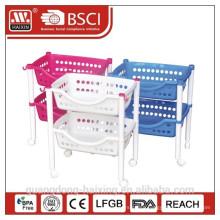 Plastic high quality storage rack with wheels/plastic rack
