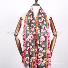 estampado de flores digital mercerizado chal de lana para mujeres