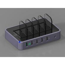 Adaptador de CA de 5 puertos con cargador USB con carga rápida
