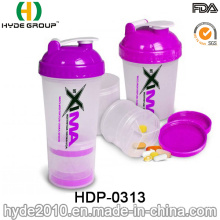 2016 Hot Sale BPA Free Plastic Powder Shake Bottle with Stainless Steel Ball (HDP-0313)