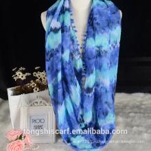 Напечатаны бесконечность шарф женские петля шарф с дизайн помпон