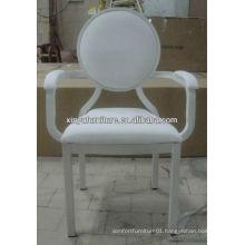 Wedding metal frame white leather dining chair XA1094
