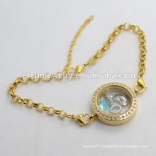316l stainless steel Pearl Chain loating locket bracelet, crystal bracelet