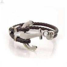 Stainless Steel Anchor Leather Bracelet Designed For Men